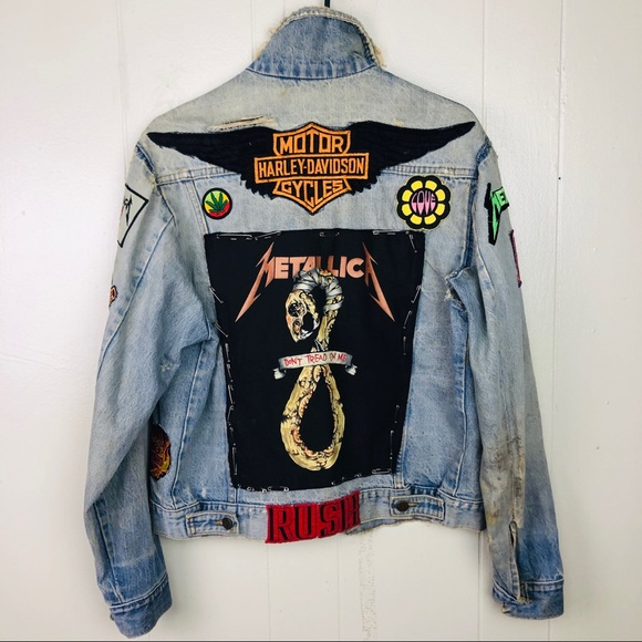 Vintage Harley Davidson patch eagle jean jacket denim motorcycle authentic wear distressed pins 90s patches
